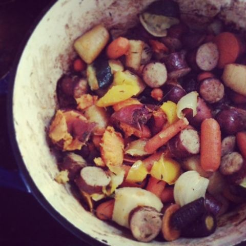 Paleo'ish on a Dime: Roasted Root Vegetables and Sausage with Rosemary ...