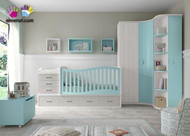 Dormitorio de bebé con cuna convertible de 140 x 70 y armario rincón