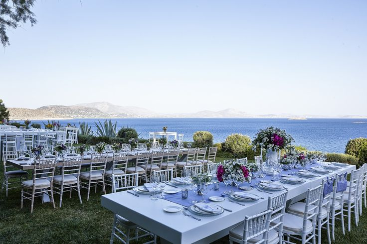 Table setting for a Mediterranean Chic inspired wedding facing the Greek Riviera