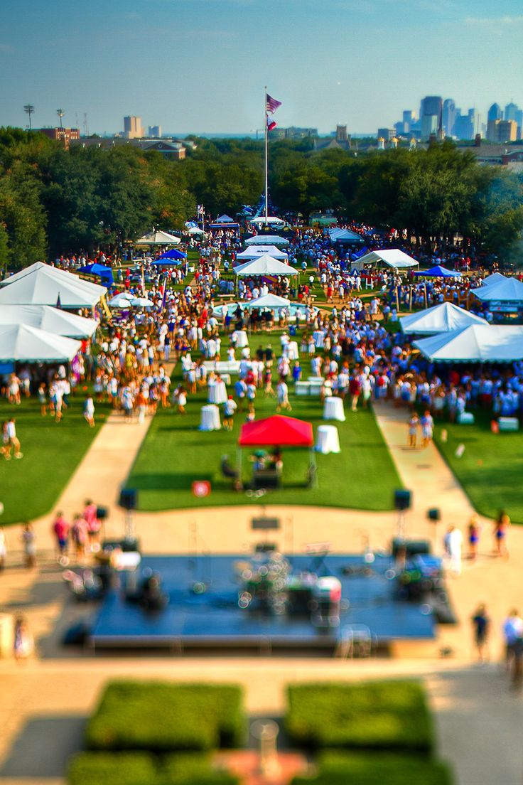 The Boulevard from Dallas Hall  A tilt-shift view of The Boulevard, SMU's version of tailgating, during the #SMU vs #TexasTech game on Friday.