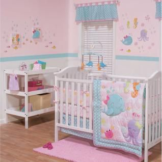 This sweet collection will create a lovely nursery for your little mermaid. The collection brings a pretty pink and aqua color story together with accents of raspberry, lavender, orange and green.