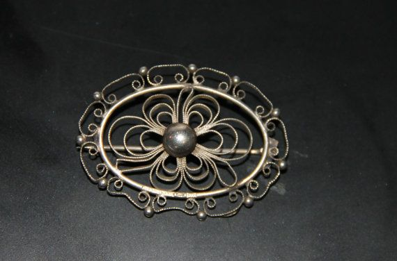 Vintage genuine silver filigran brooch 1951. Made in by Piippana