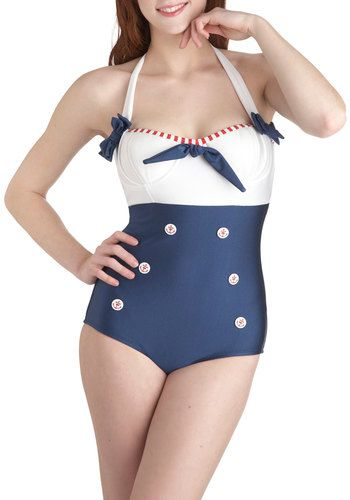 Modcloth. Transmarine Dreams One Piece by Fables by Barrie - Blue, White, Bows, Buttons, Beach/Resort, Nautical, Halter, Summer, Red, Rockabilly, Pinup, Vintage Inspired, 50s. $123