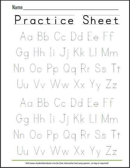 ABCs Dashed Letters Alphabet Writing Practice Worksheet | Student Handouts