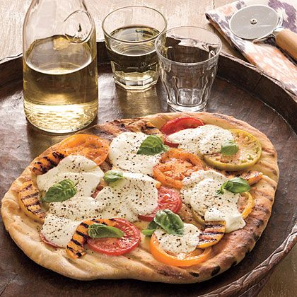 Vegetarian grilled tomato and peach pizza - perfect for hot nights!