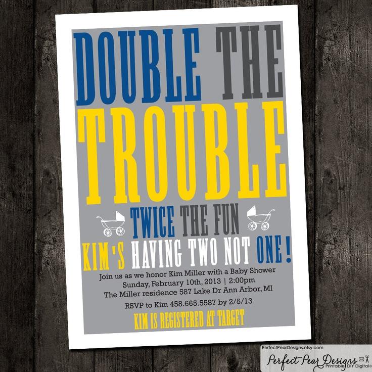 "Twins Baby Shower Invitation boy, twins, neutral, girl, ""Double Trouble"" pink, purple, grey - DIY Digital Printable. $14.00, via Etsy."