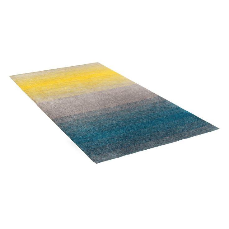 Tapijt grijs-blauw-geel - 160x230 cm - shaggy -