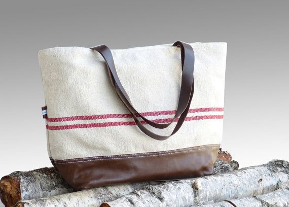 Large linen leather tote bag  SEPIA brown leather by dawnaparis, €55.00