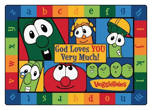 "God Loves You Very Much Veggie Tales 5'5"" x 7'8"" Rectangle Rug"