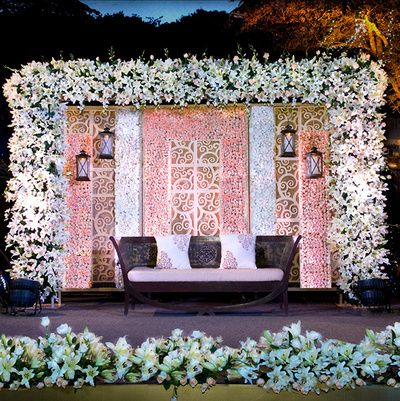 white lilies floral  decor, white and pink stage decor