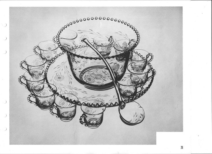 """Candlewick by Imperial Glass 15pc. punch set  6 qt. bowl 17"""" cupped edge plate 12 cups ladle"""