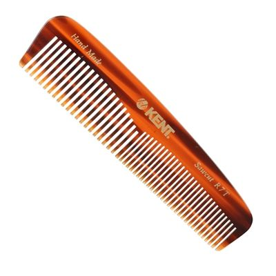 Kent Pocket Comb 130mm Course/Fine R7T. Hand-made and saw-cut for the gentle, non scratch treatment of the beard or moustache.  Provides you with a versatile wide and fine tooth comb in one. Beardsmen; at only 130mm in size this quality Kent comb can go with you anywhere!