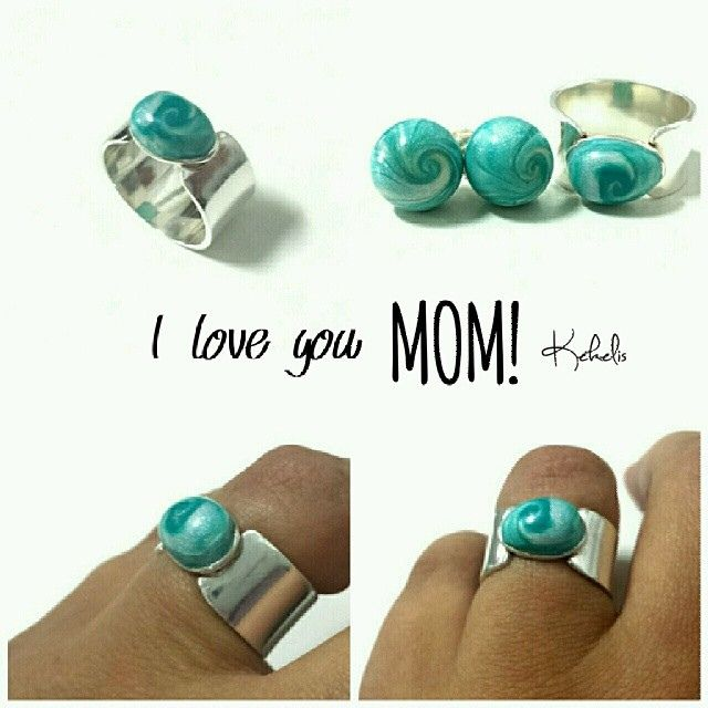Mother's day #gift #polymerclay #polyclay #sterlingsilver #ring #blue #pearl