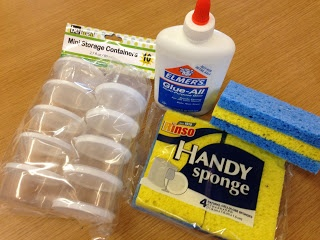 Glue containers. Duh! Keep from getting too much or spilling it. Put a sponge soaked with glue in a container. Just dip the part needing glue onto the sponge. No sticky fingers, minimal anyway:)