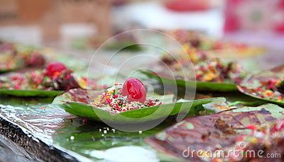 Indian street Food: Indian Paan-made of betel leaves, areca, little past of lime…