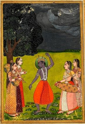 """Meghamallara, megha, """"cloud"""" in Sanskrit, under the paint: trunk. Krishna dances to celebrate the rains, accompanied by 4 musicians playing the tambourine, the bin, cymbals. The cataka birds await the monsoon, refugees in a tree foliage. According to traditions, the Meghamallara raga sung or played on an instrument causes the coming of the rains. Rajput, Provincial Mughal, 18th cent."""