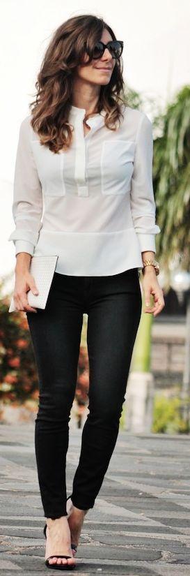 Karen Millen White Stand Collar Sheer Crepe Blouse