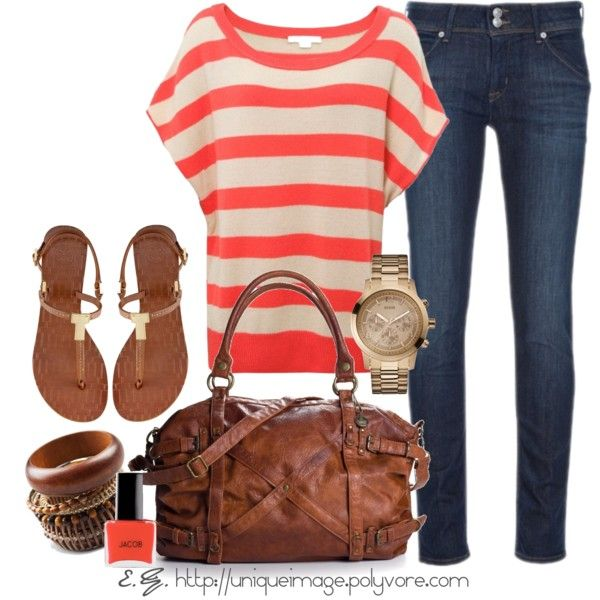 Everyday OutfitFashion Outfit, Coral Stripes, Summer Style, Stripes Tops, Summer Trips, Dark Jeans, Cute Outfit, Spring Outfit, Everyday Outfit