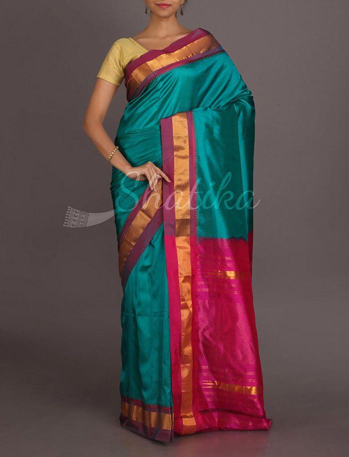 Savitha Splendid Sea Blue And Blossom Pink Pure #NarayanpetSilkSaree
