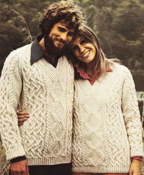 Vintage Aran Cardigan Knitting Pattern : Vintage His & Hers Aran Sweater Knitting Pattern - PDF ...