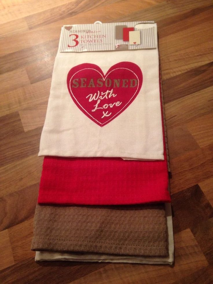 3 Shabby Chic Embroidered Heart Red Beige Cream Tea Towels.  Love. 100% Cotton