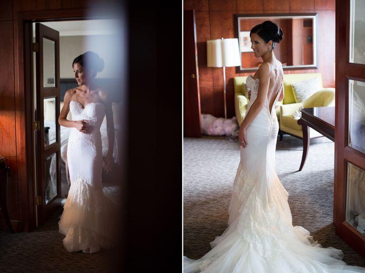 Bride wearing gorgeous Inbal Dror designer gown