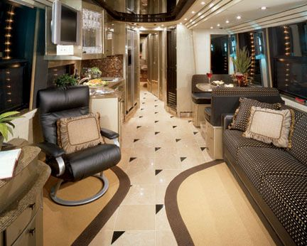 Rv Camping interiors | Prevost RV, Motorhomes which you can rent or lease with a private driver :)