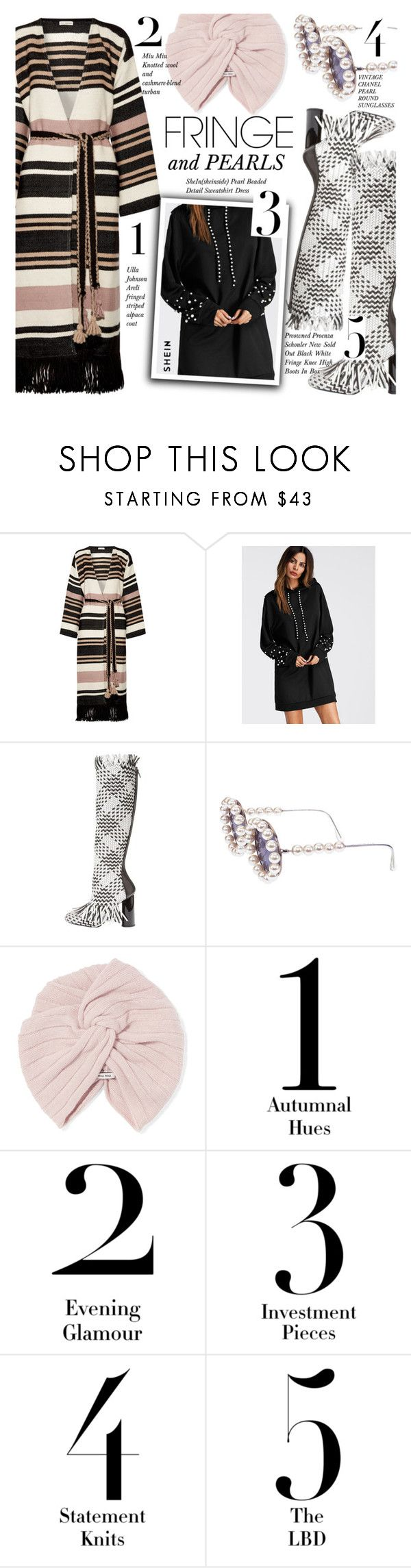 """""""WIN $30 ! Shimmy Shimmy: Fringe"""" by merrygorounds ❤ liked on Polyvore featuring Ulla Johnson, Proenza Schouler, Chanel, Miu Miu, fringe, pearls, polyvoreeditorial and shein"""