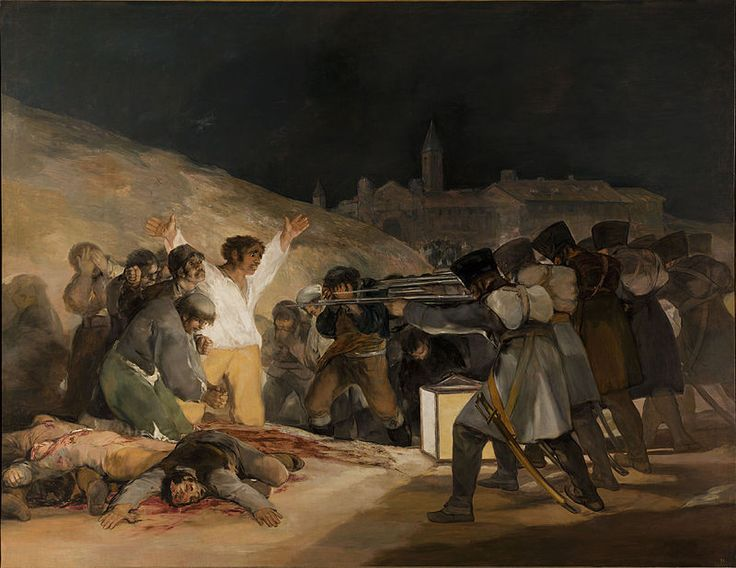 """The Third of May 1808"" by Francisco Goya c. 1814. It's an oil on canvas that hangs at the Museo del Prado, Madrid. Goya was a Spanish romantic painter (1746-1828). In 1807, Napoleon tricked the Spainish king, Charles IV, into allowing his troops to supposedly pass through Spain on the way to conquer Portugal.  However, Napoleon's real plan was to take over Spain. Joseph Bonaparte, Napoleon's brother, became the new king."