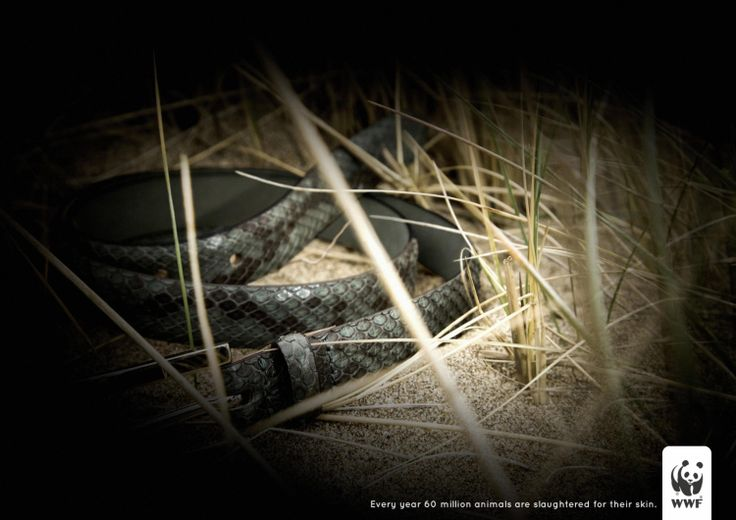 snake skin wwf ad-Every year 60 million animals are slaughtered for their skin !!