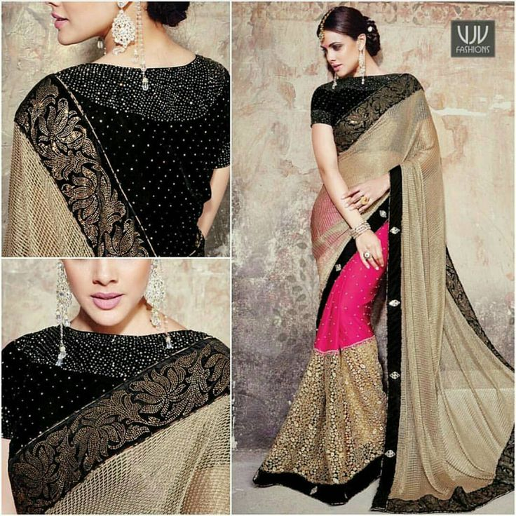 Gratifying Black And Party Wear Designer Saree  Pink and beige satin and fancy fabric designer saree.