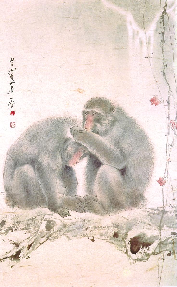林湖奎 Lam Wufui 溫馨 Together 112x68.5cm 設色紙本 ink and color on paper  #art #gallery #ink #contemporary #hongkong #painting #artwork #hongkongartgallery #chineseart #asian #asianart #nature #exhibition #artist #modern #artwork #passion #contemporaryart #drawing #drawings #artgallery #nature #monkey #together #warm #spring #lamwufui