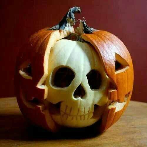 Jack-o-lantern skull--I kind of like this as an idea for something to do with a white pumpkin :)