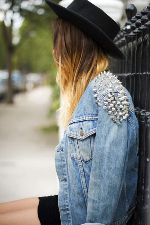 Love this hat and studd combo. Details In Streetstyle.