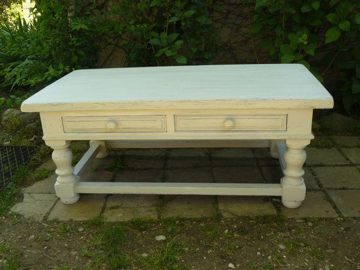 Table basse blanc cass patin et gris avec 2 tiroirs for Meubles patines