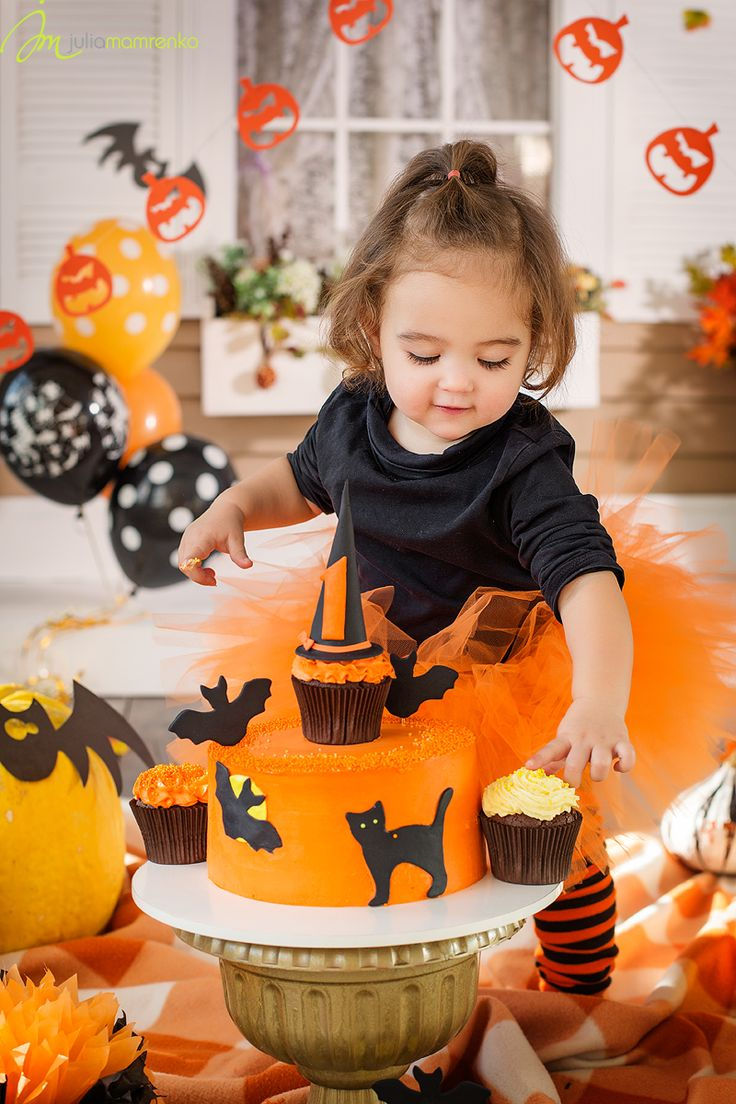 Halloween cakesmash little hellcat witch orange pumpkin decorations decor black autumn theme cake crush smash smashcake girl one year holiday baloons scary cat cupcake