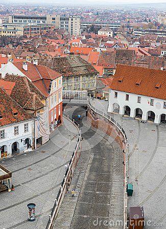 Aerial view of Sibiu in Transylvania, Romania and the bridge of lies