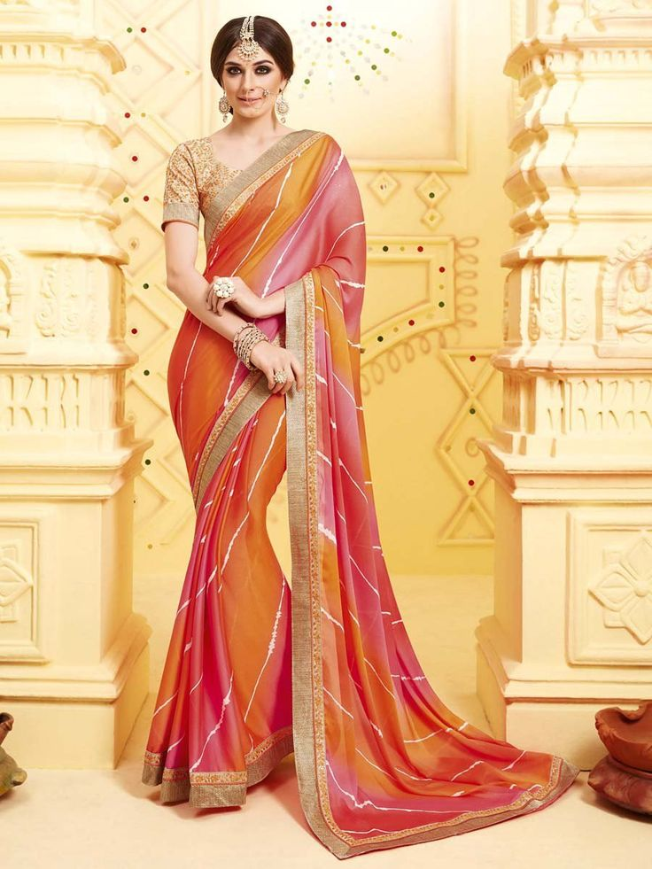 Party Wear Saree with fancy patch border is adorning its beauty with grace. Item Code: SSVH6668 http://www.bharatplaza.com/new-arrivals/sarees.html
