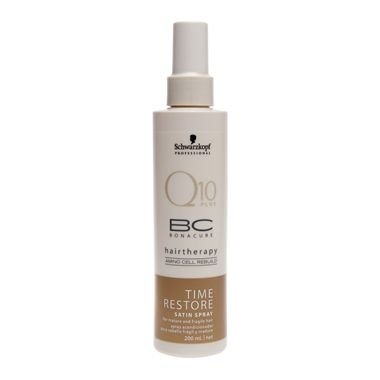 Schwarzkopf BC Bonacure Time Restore Q10 Satin Spray desembaraça e confere maior força, maciez e vitalidade aos cabelos. Combate os sinais da idade. Estimula a raiz do cabelo a produzir queratinas cuja produção enfraquece ao longo do tempo.