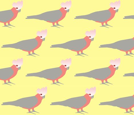 Galah on yellow fabric by susie-lotta_designs on Spoonflower - custom fabric