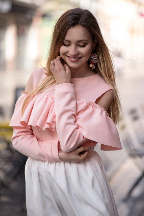 Bluza z falbaną Cranberry Różowa