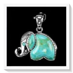 ***A MUST HAVE*** AAA NATURAL SLEEPING BEAUTY TURQUOISE ELEPHANT SOLID .925 STERLING SILVER PENDANT