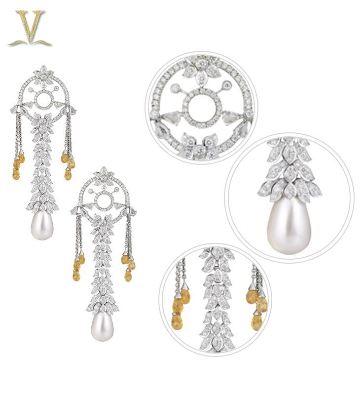 These earrings showcase delicate and artistic stalks of diamond.