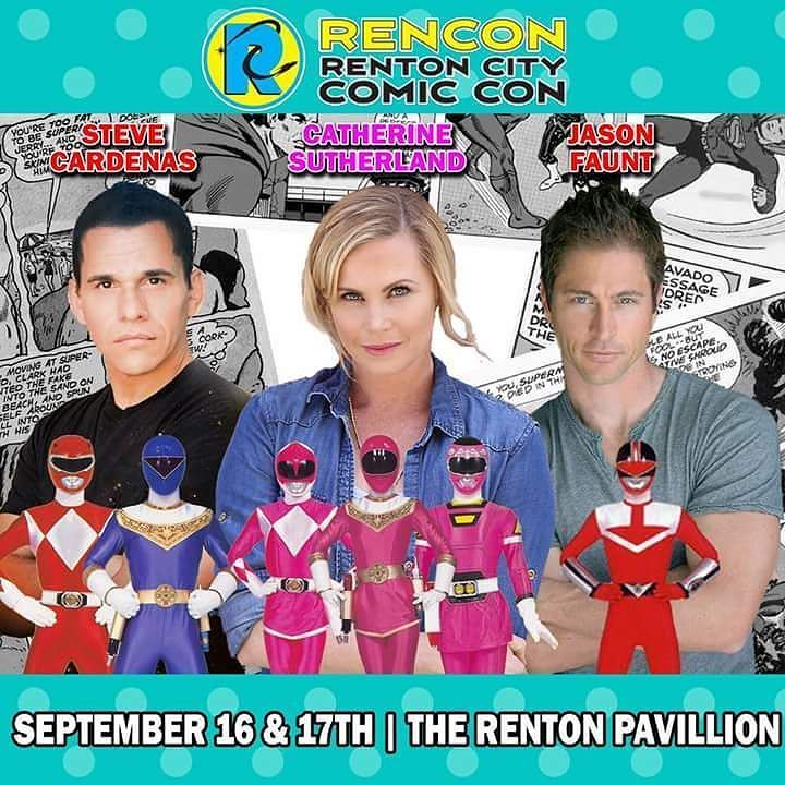 In 4 days @jasonfaunt @catherine_sutherland & @stevecardenaspr will be at Renton City Comic Con.  #catherinesutherland #teamkittykat #stevecardenas #pinkranger #pinkpowerranger #beatmaticsupports #trentonnjpromoter #powerrangers #tvactor #actorslife #timeforce #legendary #jasonfaunt #timefortimeforce #timeandspace #redranger #powerrangerstimeforce #bluepowerranger #convention #meetandgreet #comiccon #powerrangerwildforce #wildforce #redpowerranger #foreverred #supermegaforce…