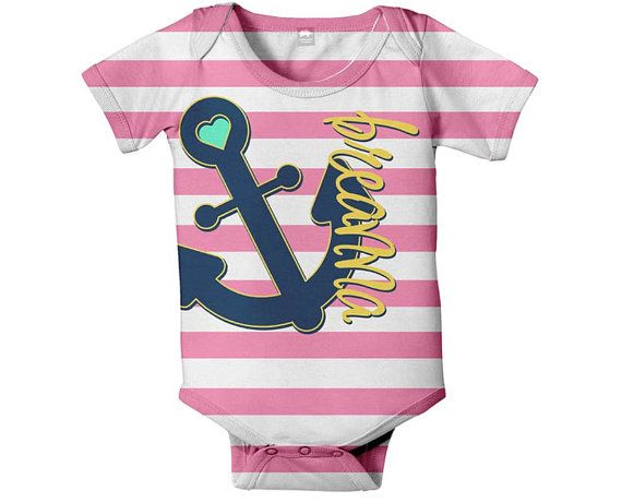 Nautical Anchor e Piece Bodysuit Personalized Baby Girl