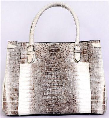 Crocodile Bags Natural Twotone Genuine Crocodile Handbag. 100% Handcrafted real crocodile alligator skin bags. With vintage ivory white & grey two-tone stylish design.