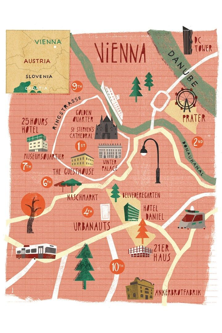 Map of Vienna, Austria (ringstrasses was built to protect the emperor from his rebellious subjects, schorske)