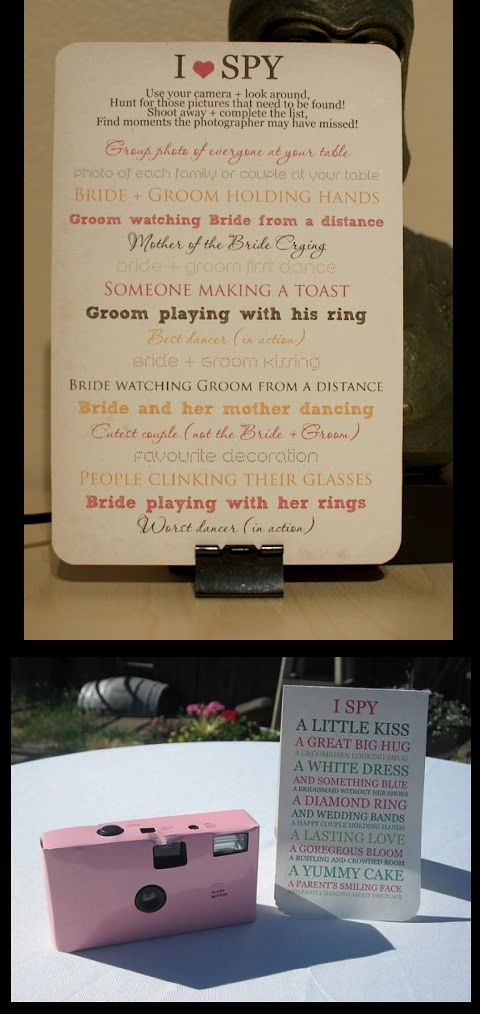 Awesome idea!! A great way to get pictures that may not be captured.Honeymoons Pictures Ideas, Guest Tables, Scavenger Hunting, Wedding Games, Cute Ideas, Brides Surpris Grooms, Wedding Pictures, I Spy, Receptions Games