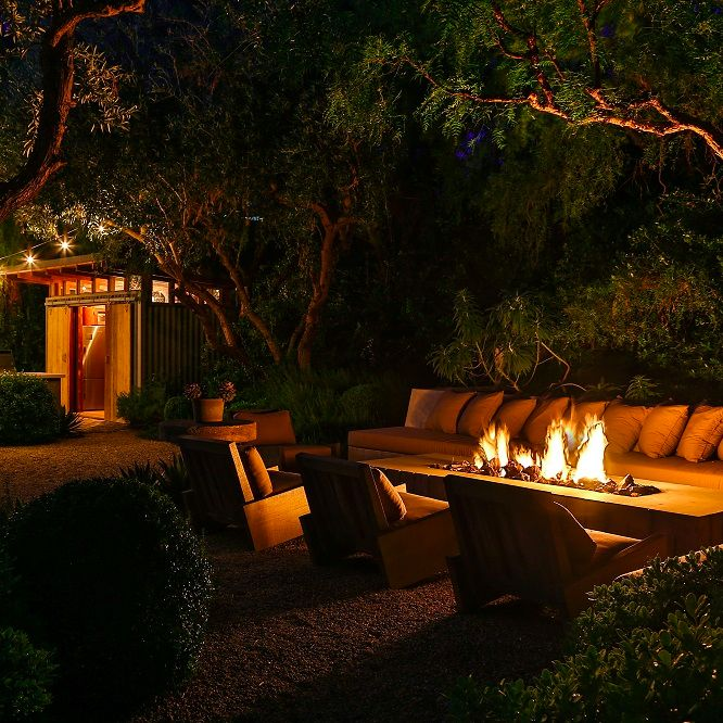 Firepit at this Frank Gehry-designed modern estate in Malibu, California that's owned by actor Patrick Dempsey. Credit: Brett Lawyer of Hilton & Hyland