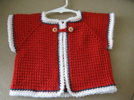 Red Chrochet Sleeveless Baby Sweater 612 by ForBabyCreations, $20.00